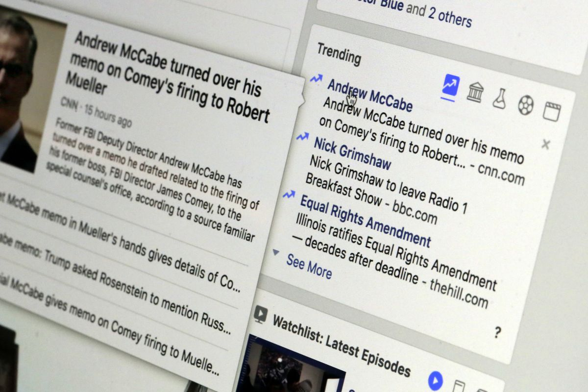 """This Thursday, May 31, 2018, photo shows the Trending section on a Facebook account in New York. Facebook is shutting down its ill-fated """"trending"""" news section after four years, a company executive told The Associated Press. The company claims the tool i"""
