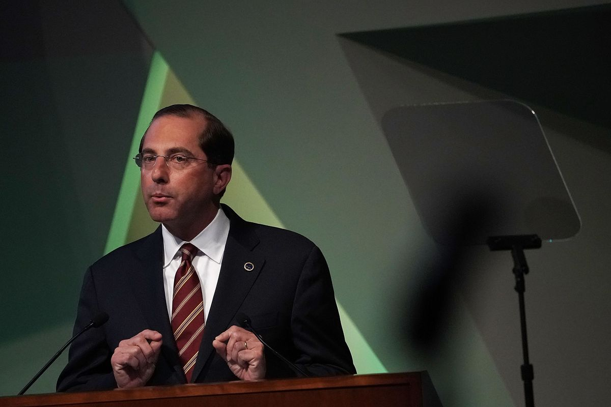 Health and Human Services Secretary Alex Azar speaks at the National Academy of Sciences on October 15.