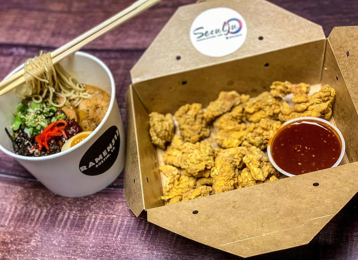 Takeout ramen and chicken nuggets from Ramen 512 and Seoulju