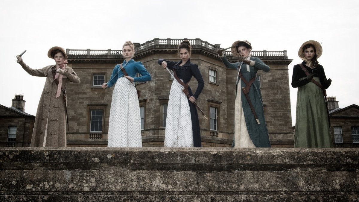 """Ellie Bamber (from left), Bella Heathcote, Lily James, Millie Brady and Suki Waterhouse in """"Pride and Prejudice and Zombies."""" 