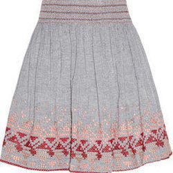 """<a href=""""http://www.net-a-porter.com/product/193214"""">Vanessa Bruno Athe Embroidered cotton-chambray mini skirt</a> , $126 (was $210)"""