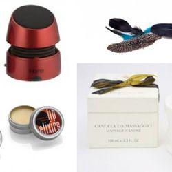 iHome portable speakers, By Samii Ryan feather clip, Santa Maria Novella massage candle, Lip Elixir lip balms
