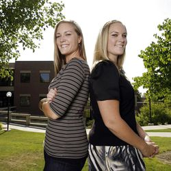 Twin sisters Lindsay and Lexie Kite pose at the University of Utah in Salt Lake City  Thursday, Sept. 8, 2011.
