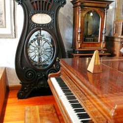 Antique music players and instruments are on display in one Pioneer Village collection.