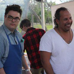 Chef Rene Ortiz holds court at Fresa Chicken al Carbon's tent.