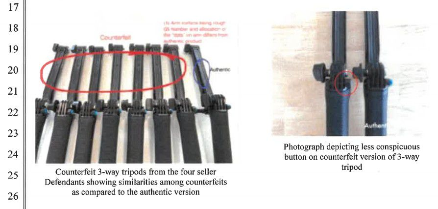 Tripod comparison picture shows a smaller button on the fake, and different patterns of dots.