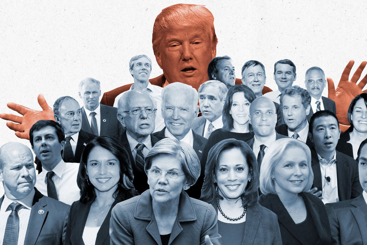 An illustration showing the faces of the Democratic presidential candidates in the 2020 election beneath President Donald Trump.