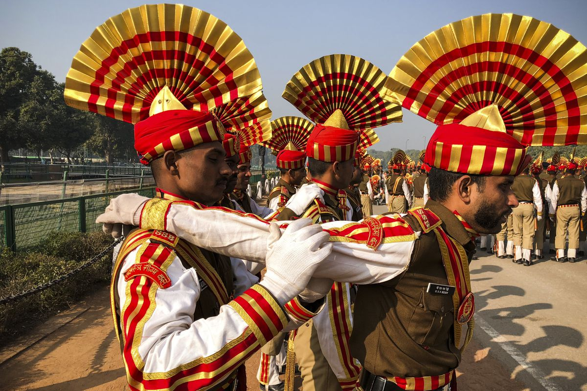 January 11: Sashastra Seema Bal soldiers relax by massaging each other during their rehearsal for the Republic Day parade in New Delhi, India. (Sahiba Chawdhary/NurPhoto via Getty Images)