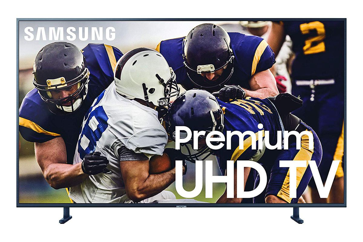 A product shot of Samsung's RU8000 4K UHD TV with a football game on the screen