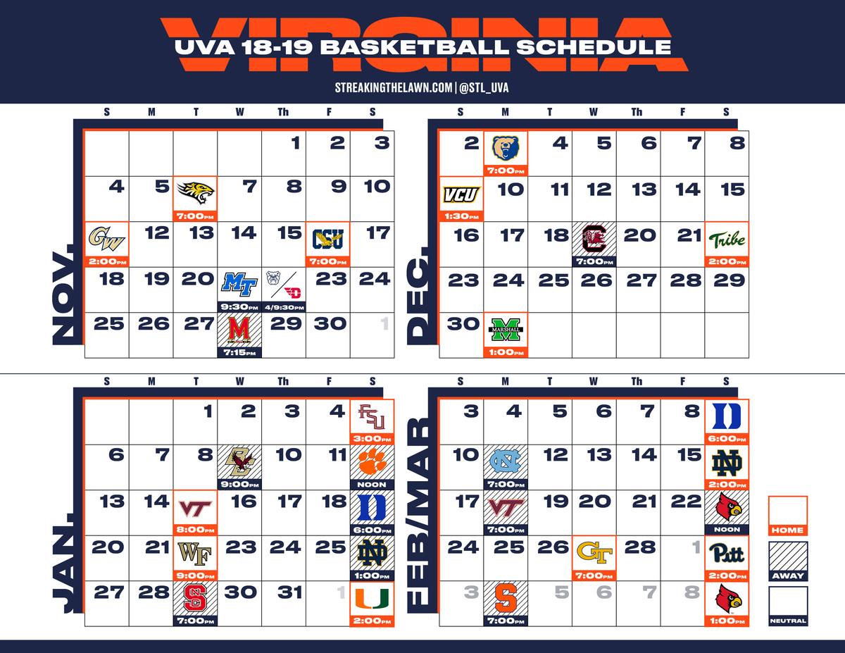 Uva Calendar 2019 Virginia Basketball 18 19 Printable Schedule   Streaking The Lawn