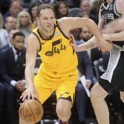 Utah Jazz forward Bojan Bogdanovic (44) dribbles the ball during an NBA game against the San Antonio Spurs at Vivint Arena in Salt Lake City on Friday, Feb. 21, 2020. The Jazz lost 104-113.