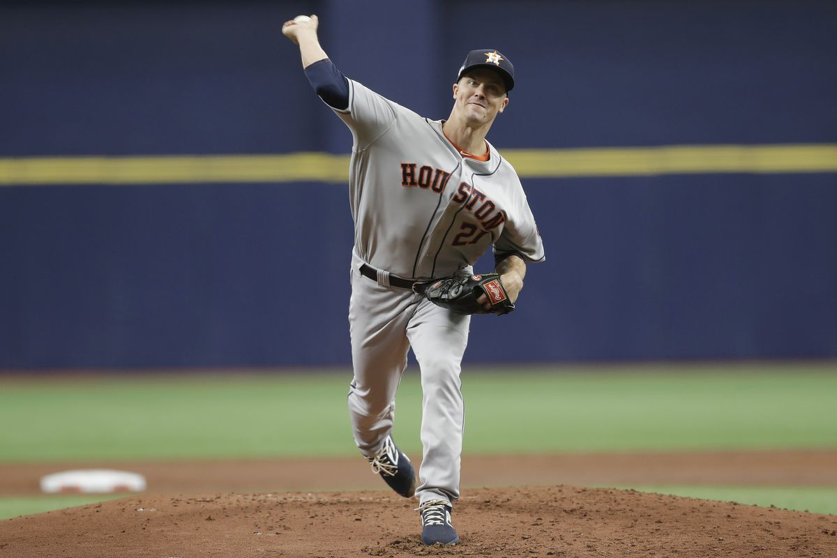 Zack Greinke of the Houston Astros delivers a pitch during the first inning against the Tampa Bay Rays in Game Three of the American League Division Series at Tropicana Field on October 07, 2019 in St Petersburg, Florida.