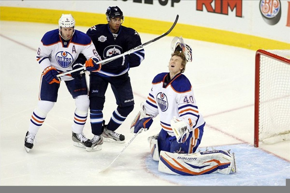 """""""HAH! Made ya flinch! """" OR: Things You Don't Want To See When You Start Your Backup Goalie.... Take Your Pick   Mandatory Credit: Bruce Fedyck-US PRESSWIRE"""