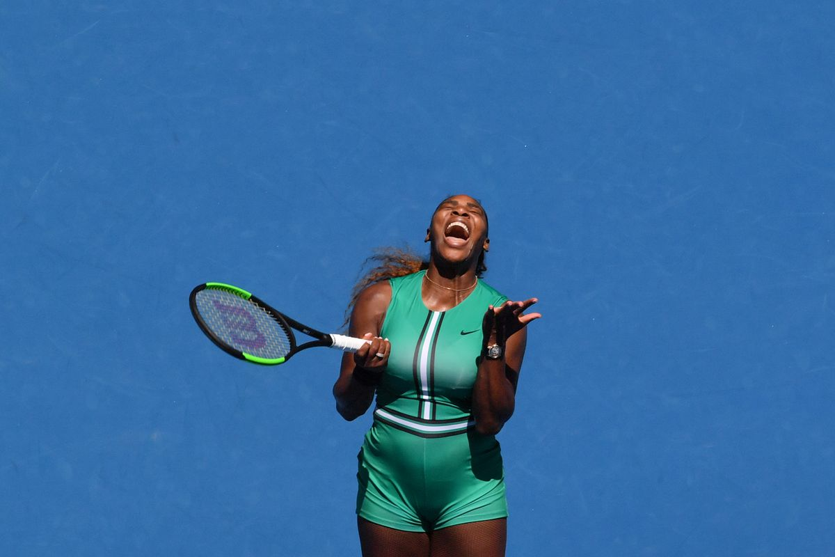 Serena Williams looking up in frustration
