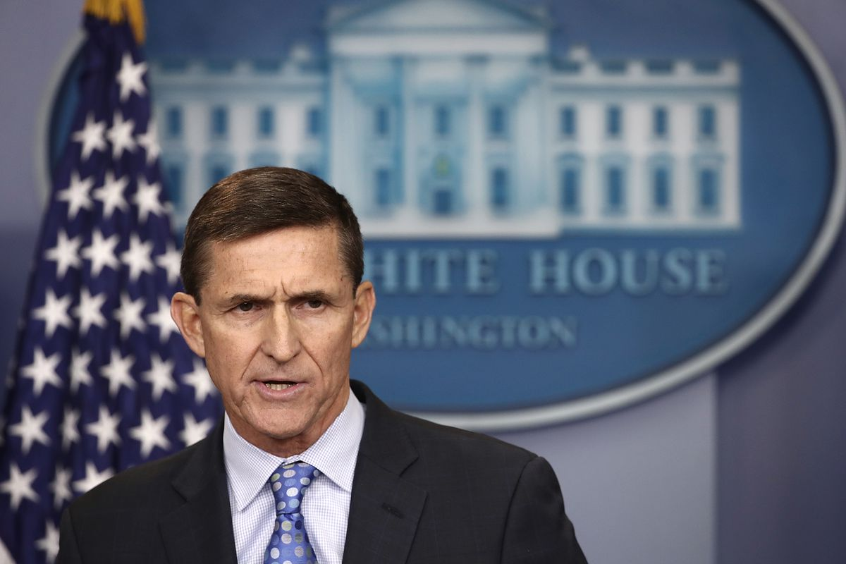 Former National Security Adviser Michael Flynn answers questions in the briefing room of the White House February 1, 2017 in Washington, DC.