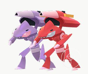 Shiny Genesect standing next to its normal form. Shiny Genesect is red instead of purple.