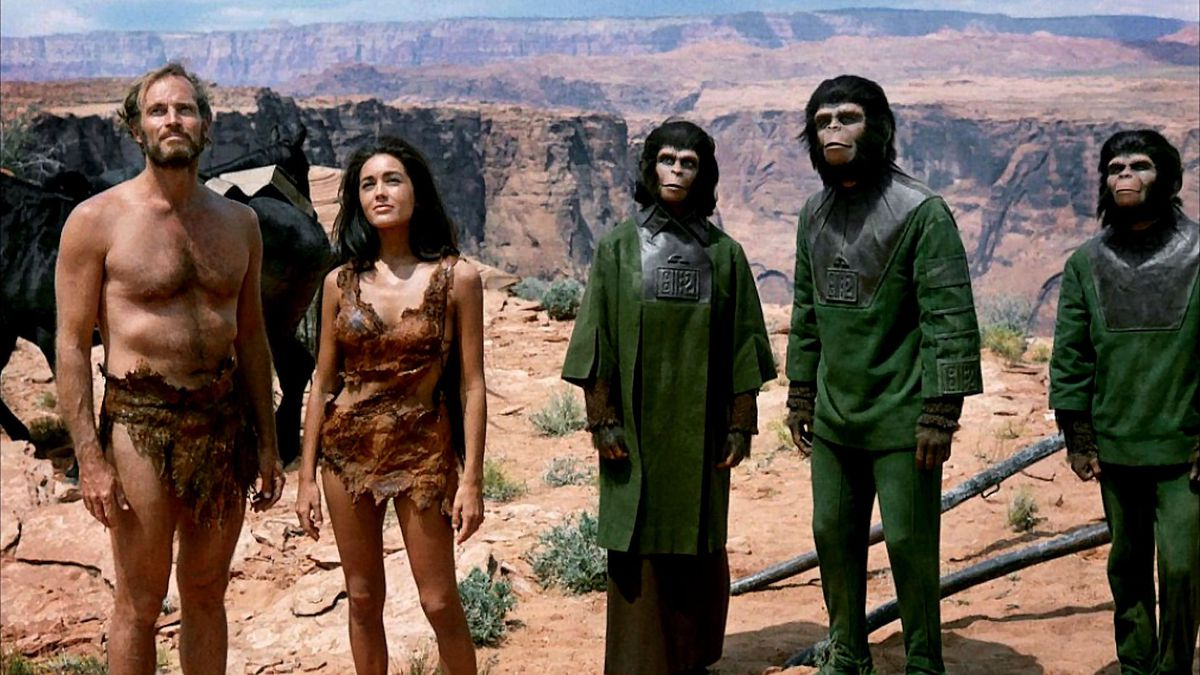 Charlton Heston, Linda Harrison, and the stars of the original 1968 Planet of the Apes