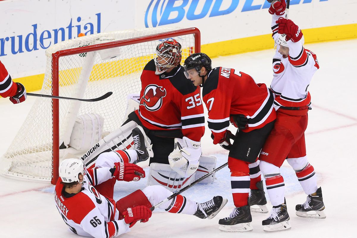 The equalizer went off the leg of Ron Hainsey, who's on the ground here.  Seriously.