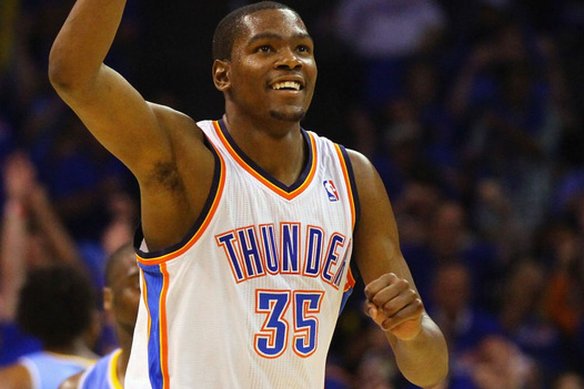 Kevin Durant celebrates a successful shot in the Thunder's victory over the Nuggets on Wednesday night.
