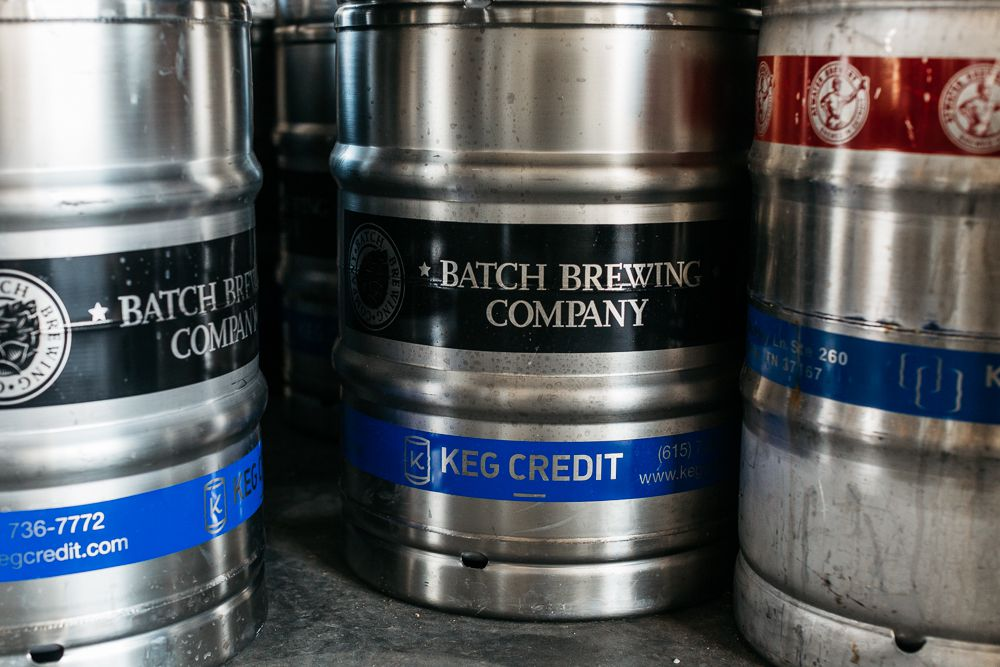 Beer kegs with Batch labels