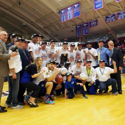 Gibson Johnson and Tyler Rawson celebrate with their Salt Lake Community College teammates after the Bruins won the NJCAA championship in 2016. Johnson (Hawaii) and Rawson (Utah) will square off against against each other Saturday when Hawaii and Utah meet in the Huntsman Center.