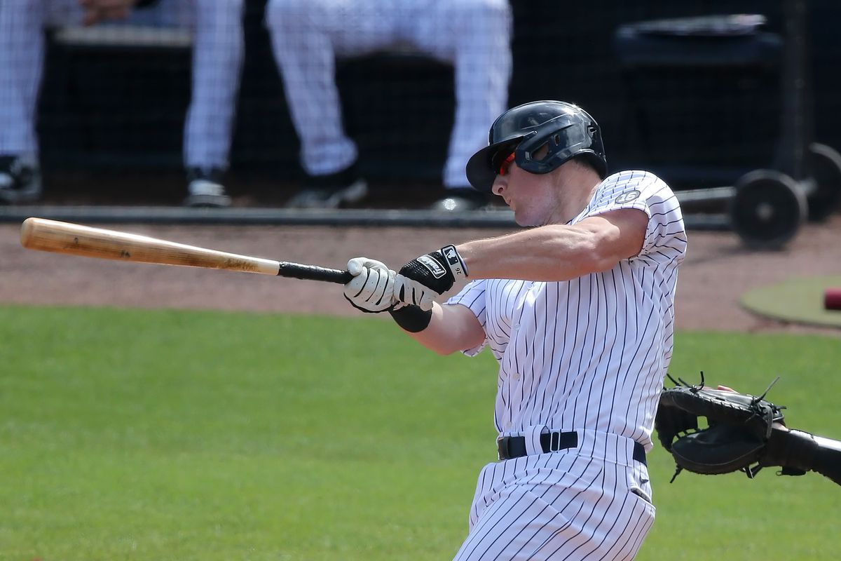 DJ LeMahieu (26) of the Yankees at bat during the spring training game between the Toronto Blue Jays and the New York Yankees on February 28, 2021, at Steinbrenner Field in Tampa, FL.