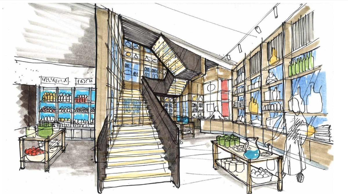 A sketched rendering of a staircase at a China Live entry, with walls of bottles and other retail items.