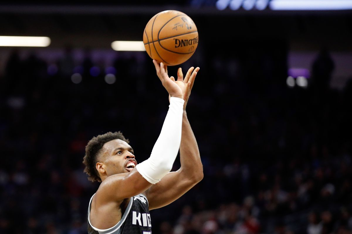 Sacramento Kings guard Buddy Hield shoots a free throw during the third quarter against the New Orleans Pelicans at Golden 1 Center.