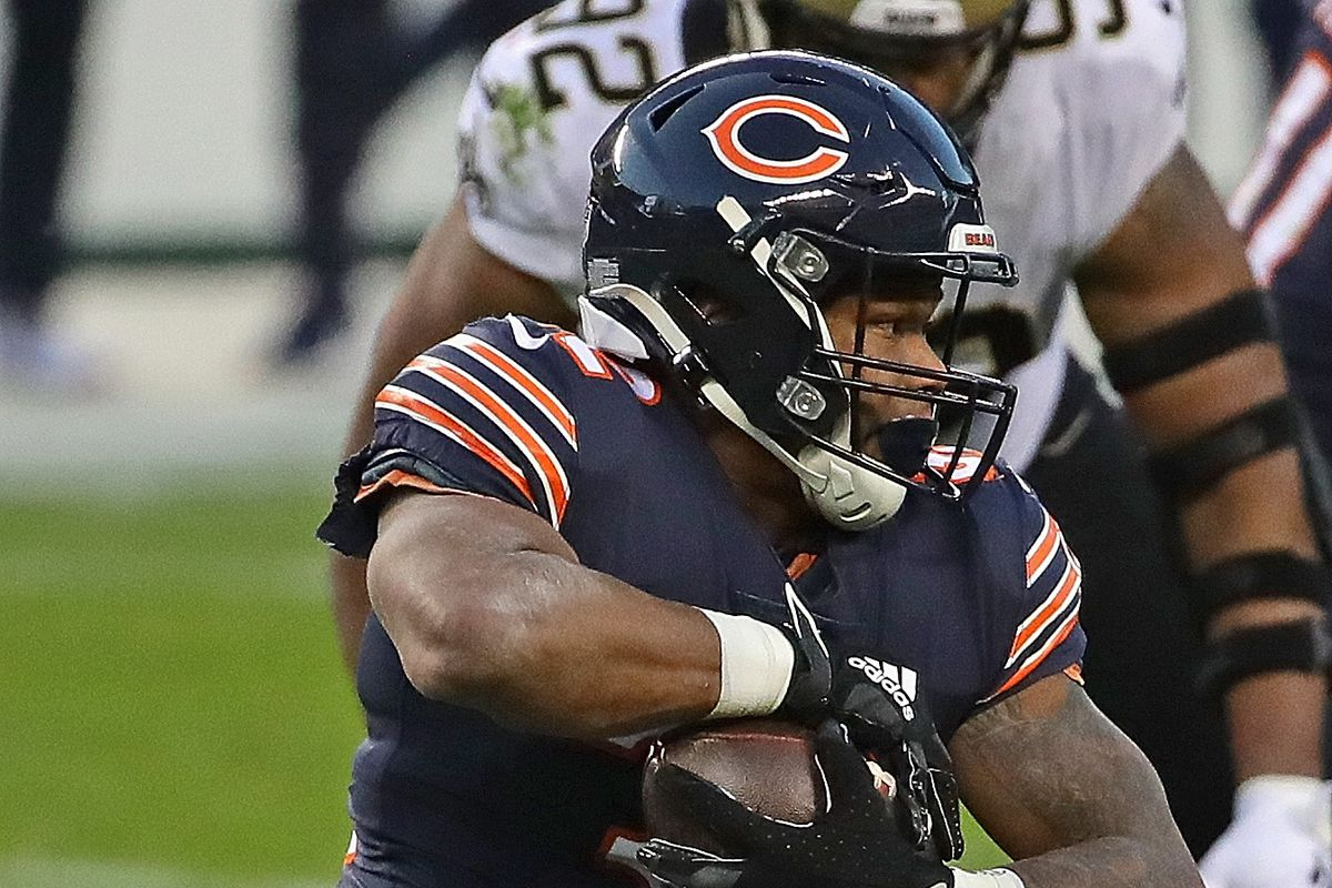 David Montgomery #32 of the Chicago Bears runs against the New Orleans Saints at Soldier Field on November 01, 2020 in Chicago, Illinois. The Saints defeated the Bears 26-23 in overtime.