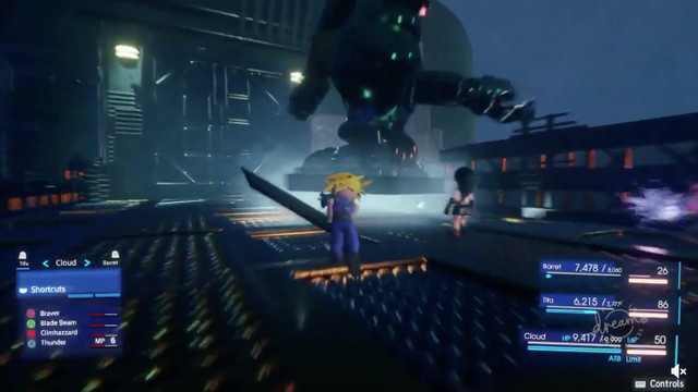 Screenshot of a fan-made Final Fantasy 7 Remake in the PS4 game-creator Dreams.