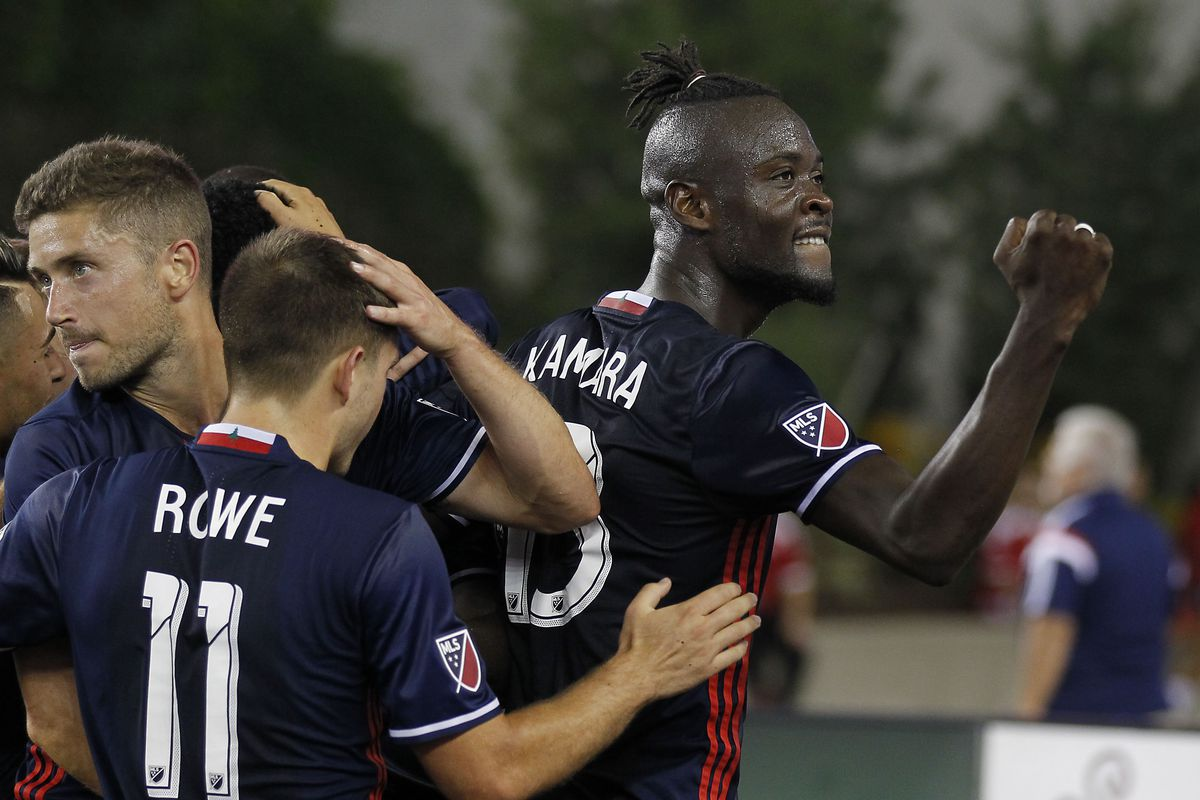Kamara, far right, scored New England's opener in the 16th minute from the penalty spot.