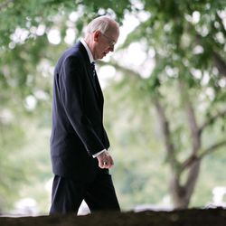 Sen. Robert Bennett, R-Utah, leaves the White House after he and other Republican members of Congress met with President George W. Bush, Tuesday, June 21, 2005, in Washington. Bush encouraged Bennett to offer Social Security legislation that would not include the private investment accounts that were the centerpiece of the plan Bush has promoted all year.