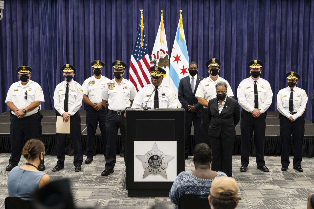 Police Supt. David Brown gives an update and answers questions during a press conference at Chicago Police Department headquarters on Sunday, Aug. 8, 2021 to address the shooting of two police officers during a traffic stop in West Englewood the night before.
