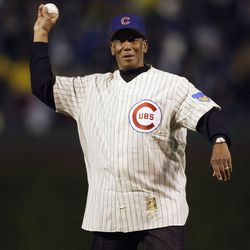 Ernie throwing out a ceremonial pitch at the NLDS at Wrigley, October 3, 2003