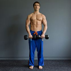 <b>Upright row</b><br>This move will work your back and biceps at the same time.<br>  Step 1: Start standing with your feet hip-distance apart. With palms facing your body, hold two dumbells (8 pounds for women, 15 pounds for men) at hip level. Keep a sl
