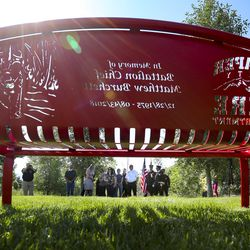A memorial bench honoring Draper Battalion Chief Matt Burchett is pictured at the Maple Hollow Trailhead in Draper on Friday, Aug. 16, 2019. Burchett was killed in Mendocino Complex Fire in northern California on Aug. 13, 2018. The Draper Fire Department installed the bench, and it was dedicated Friday during a ceremony attended by Burchett's family, friends and co-workers.