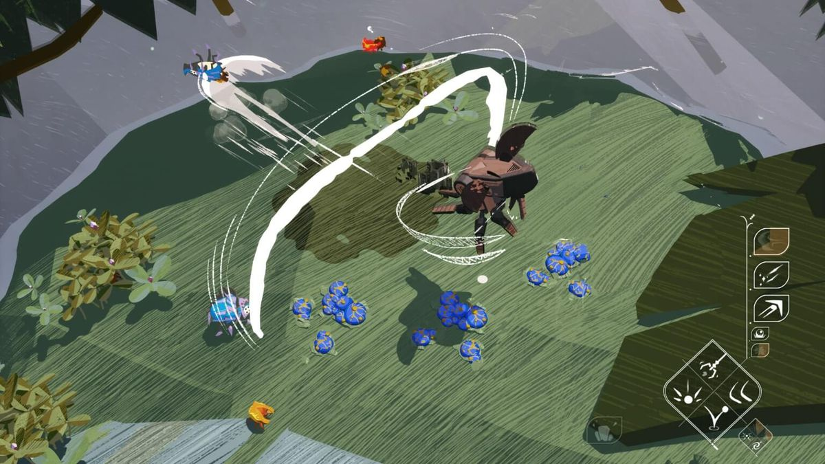 A mech shooing away bugs on a green mossed covered rock