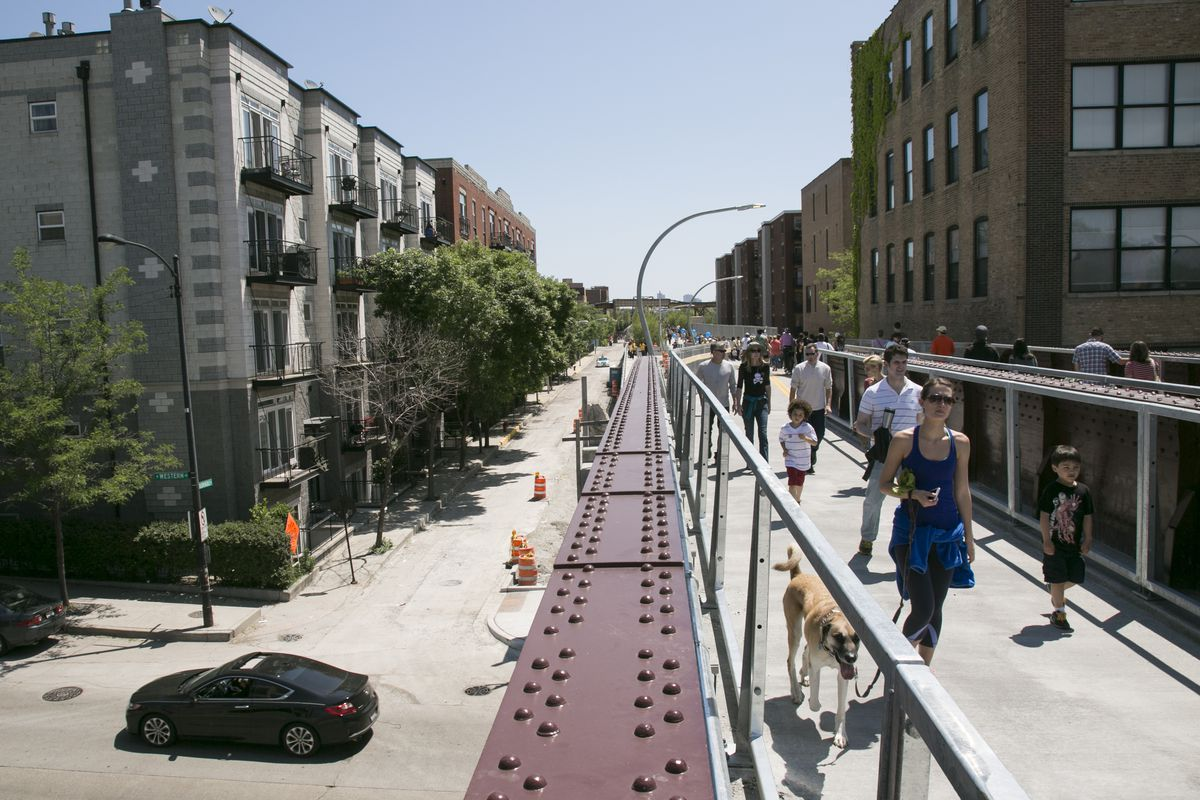 The 606, or Bloomingdale Trail, is a 2.7-mile trail and park, converted from an unused, elevated rail line between Ashland and Ridgeway avenues. It opened to the public in June 2015.