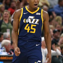 Utah Jazz guard Donovan Mitchell (45) celebrates after a play as the Utah Jazz and the LA Lakers play at Vivint Smart Home Arena in Salt Lake City on Saturday, Oct. 28, 2017.