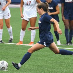 UConn's Emma Zaccagnini #11 takes a penalty kick during the UMass Minutewomen vs the UConn Huskies at Morrone Stadium at Rizza Performance Center in an exhibition women's college soccer game in Storrs, CT, Monday, August 9, 2021.