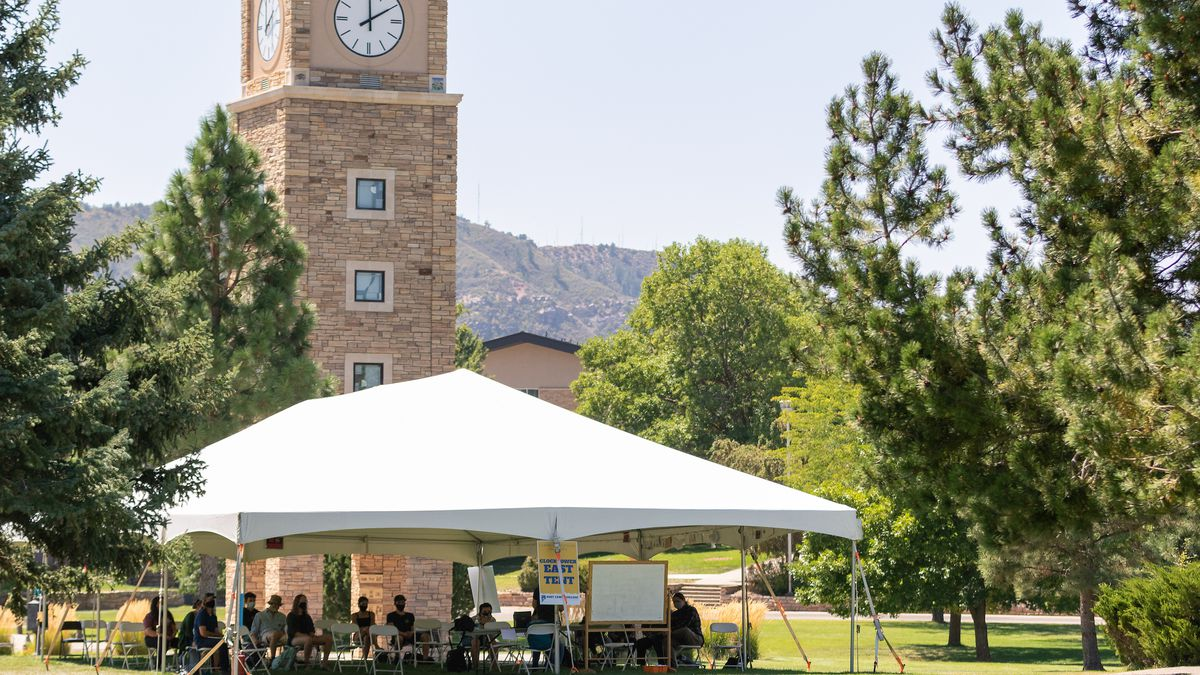 Fort Lewis College holds outdoor classes during the 2020 fall semester to help stop the spread of the coronavirus.