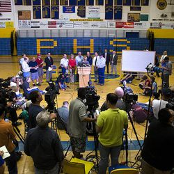Gov. Jan Brewer addresses a crowd of media and citizens at Prescott High School, Monday, July 1, 2013, talking about the tragedy that took the lives of 19 members of the Granite Mountain Hot Shot crew, Sunday. (AP Photo/The Arizona Republic, Tom Tingle)