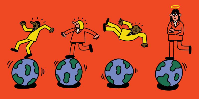 Various people stand, walk, and fall onto a row of planet earths. This is an illustration.