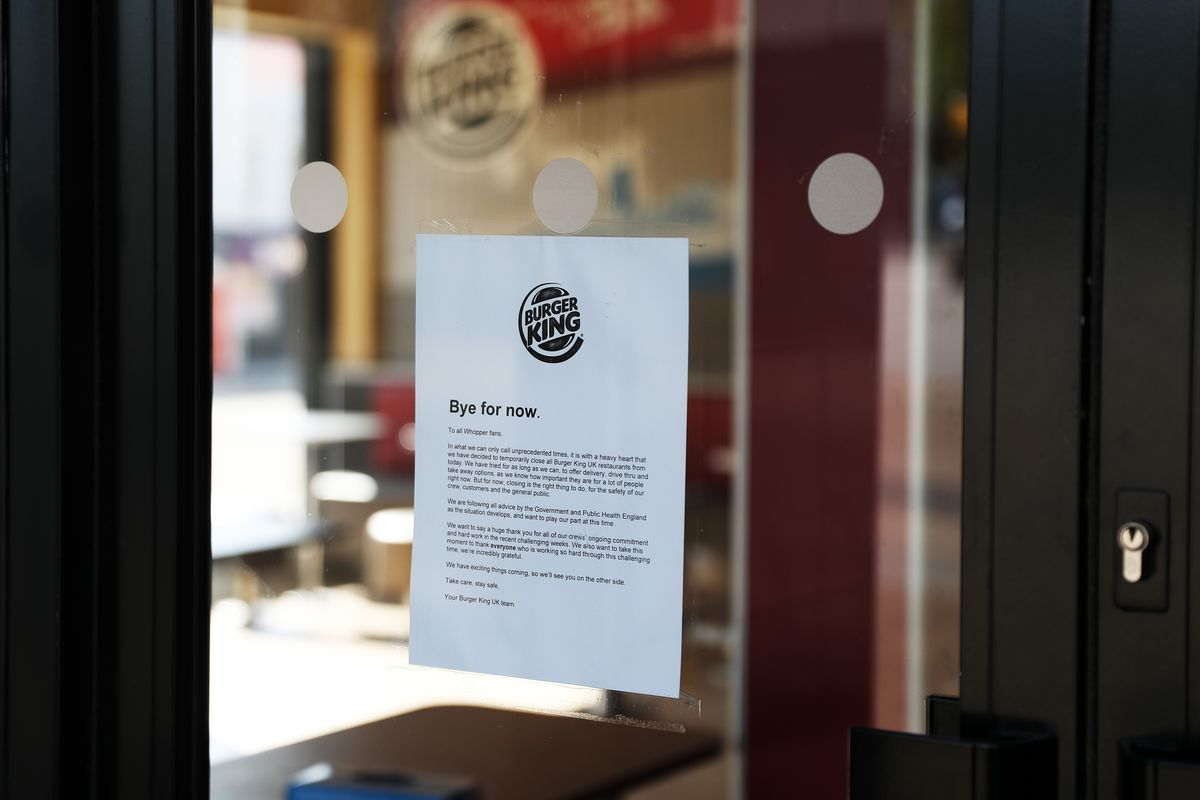Burger King closure sign, as the fast food chain says it is withholding rent payments