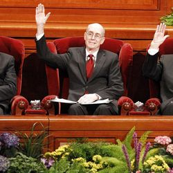 General Authorities sustain church leaders during the 182nd Annual General Conference for The Church of Jesus Christ of Latter-day Saints at the LDS Conference Center in Salt Lake City on Saturday, March 31, 2012.