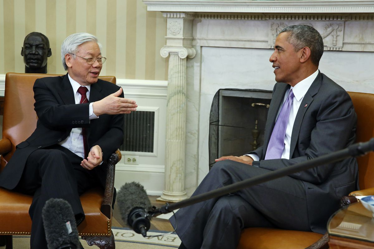 Barack Obama meets with General Secretary Nguyen Phu Trong of Vietnam, which is part of the TPP.