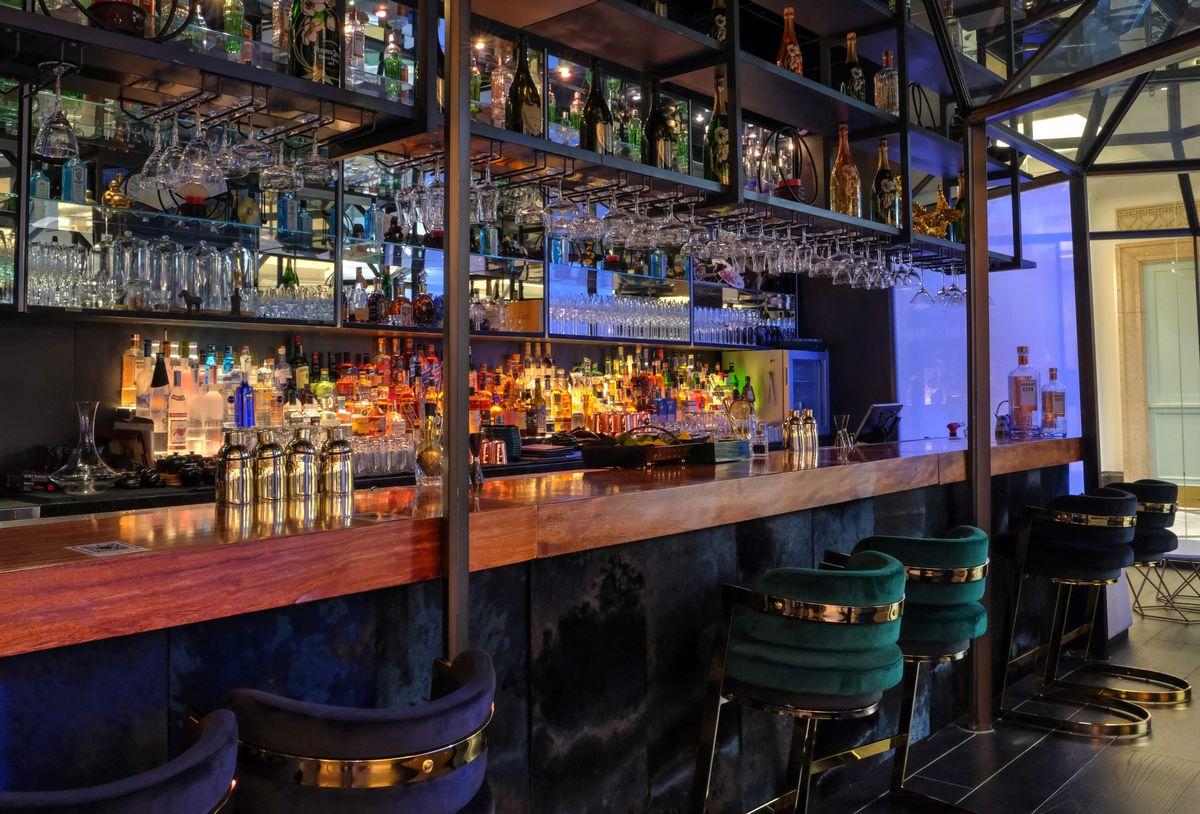 A bar with a lot of liquor