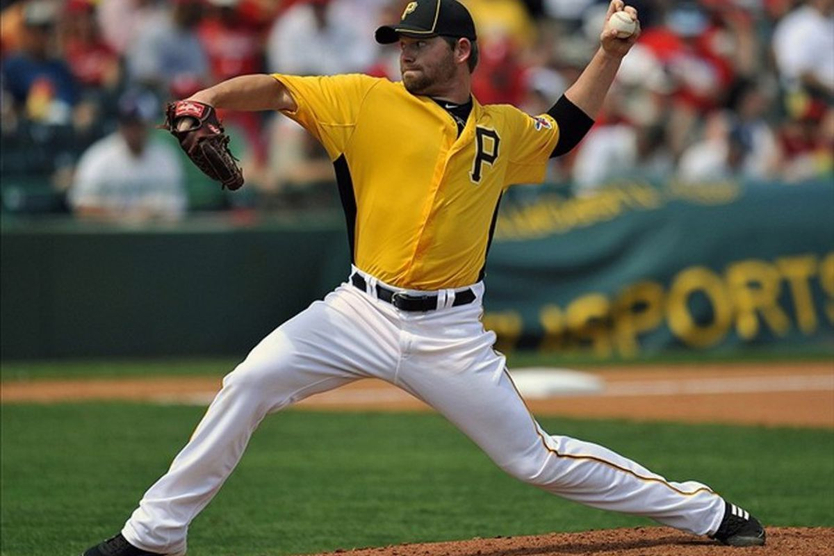 March 12, 2012; Bradenton, FL, USA; Pittsburgh Pirates pitcher Rudy Owens (99) throws in the sixth inning against the Philadelphia Phillies at McKechnie Field. The Phillies defeated the Pirates 4 - 1. Mandatory Credit: Joy R. Absalon-US PRESSWIRE