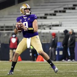 Washington quarterback Dylan Morris drops back to pass against Utah during the second half of an NCAA college football game Saturday, Nov. 28, 2020, in Seattle.
