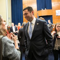 Rep. Jason Chaffetz, R-Utah, talks to people during a Utah delegation reception in the House Oversight and Government Reform Committee Room in the Rayburn Building in Washington, D.C., on Thursday, Jan. 19, 2017.